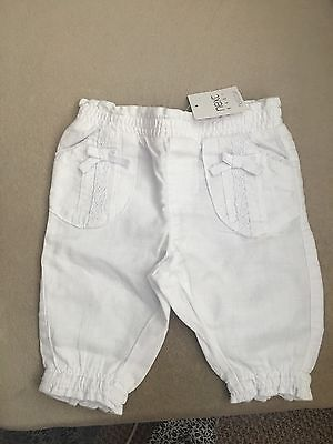 BNWT Next Upto 0-3 Month White Baby Girl Trousers
