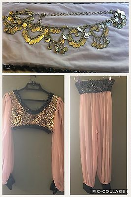 Beige, Black And Gold Sequence Ladies Belly Dancing Costume W Dance Belt Small