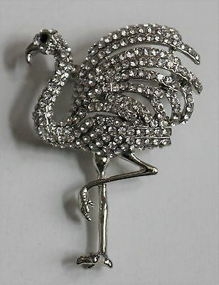 Classic Art Deco Flamingo Brooch / Silver & Clear Crystals / Vintage Style