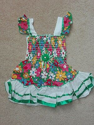 Baby girl summer green multi color party Frock 6-9 months new