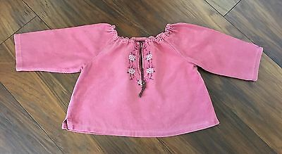Baby Girl's Bonpoint Pink Fine Cord Embroidered Tunic Top Age 18 months
