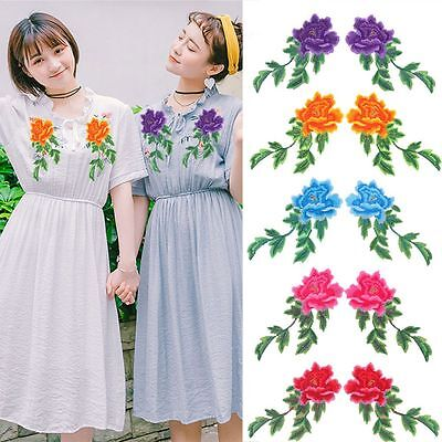 2PCS Iron On Embroidery Patches DIY Crafts Sewing Applique Peony Flowers