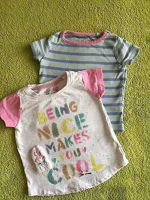 Next Baby Girl Bunny 6-9 Months T-shirt X 2