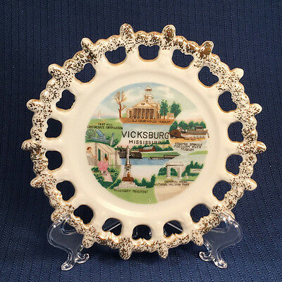 Vintage Vicksburg Mississipi Souvenir Plate from the 1950s or 60s