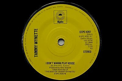"""Tammy Wynette - I Don't Wanna Play House / No Charge   EPC 4091  7"""" Vinyl Single"""