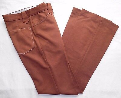 "Womens Vtg HBarC Pants New Tags Unique Rockabilly 70s Retro Rust Brown 29"" Waist"