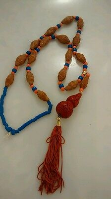 Rare antique vintage Chinese carved nut happy Buddha peking glass  necklace