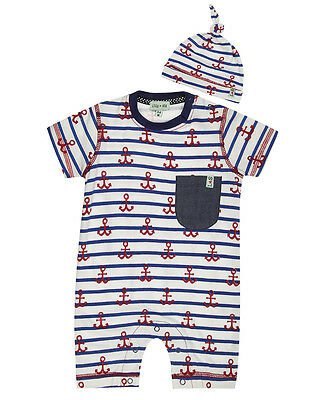 Lilly and Sid Baby Boy Anchor Stripe Romper & Hat Set 0-3 Months