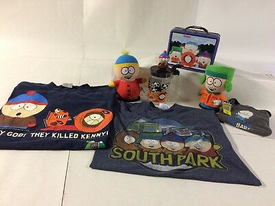 VINTAGE South Park Memorabilia Family Pack SHIRT LOT W/Cup Lunchbox & Plush Toys