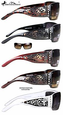 5 Clrs- Gorgeous Silver Scroll & Rhinestones Montana West Sunglasses