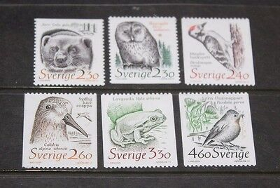 Sweden 1989 Animals In Threatened Habitats Set 6 Fine M/n/h