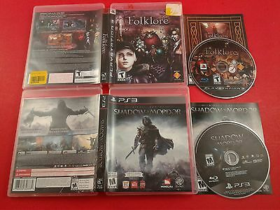 Bundle of 2 Playstation 3 Games - Folklore , Shadow of Mordor (Tested & Working)