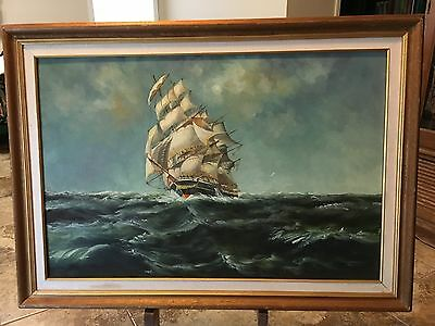 Nice Vintage Painting Of Clipper Ship On Canvas Signed By Artist.