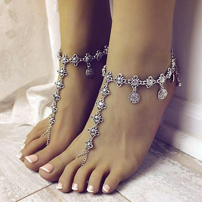 Tassel Beach Barefoot Sandals Chain Foot Bracelet Jewelry Coin Anklet