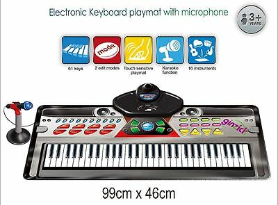 Music Piano Electronic Keyboard Playmat with Microphone and Stand