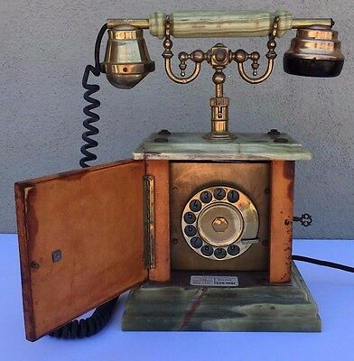 Antique Vintage Marble Rotary Telephone Mid Century Deco Michaelson Brass Unique