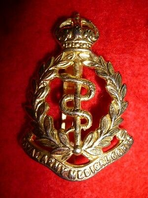 Royal Army Medical Corps KC Brass Cap Badge, WW2 Plated Badge