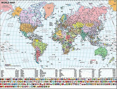 """World Map with Flags (Wall Map) 36"""" x 27"""" Laminated"""