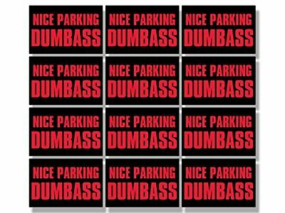 Sheet of 12: 1x1.5 inch Nice Parking Dumbass Stickers -funny car rude bad driver