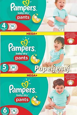 Pampers Pants Mega Plus Baby Dry Pants Size 4 5 6 Monthly Saving Pack Free P&P