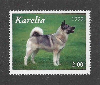 Dog Photo Full Body Portrait Postage Stamp NORWEGIAN ELKHOUND Karelia 1999 MNH