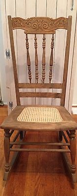 Sewing Rocking Chair Antique New England 1800s Carved Wood Beautiful
