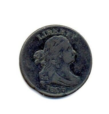 Rare 1806 Draped Bust Half Cent Large 6 with Stems. Very Good?