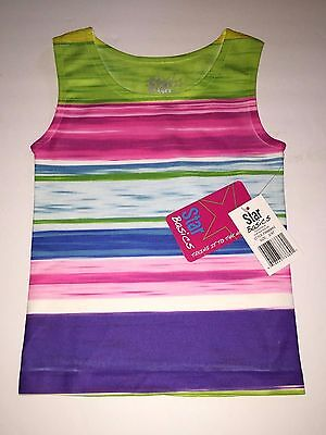 One Size 2T-4T Pink Green Spandex Stretch Tank Top Girl/'s Star Basics Purple