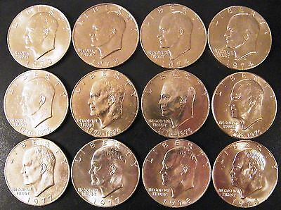1973-1978 P D Eisenhower BU Ike Dollars US From Mint Cello A 12 Coin Set Run