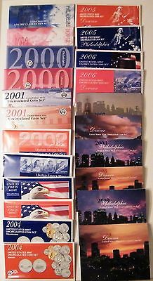 1999 to 2009 11 Years US Mint Uncirculated Sets 254 Coins P & D