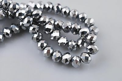 100pcs 3x2mm Silver Plated Glass Crystal Faceted Rondelle Spacer Beads Findings