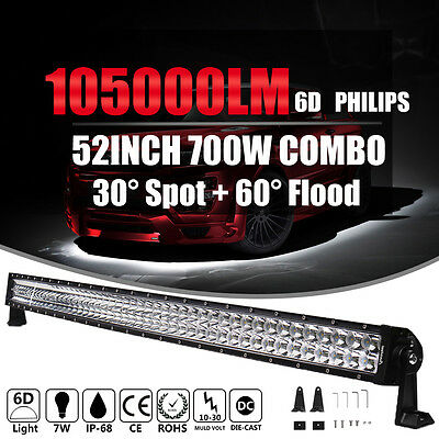 52INCH CURVED 700W LED LIGHT BAR SPOT FLOOD COMBO Offroad 4WD Car Truck ATV 54""