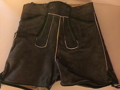 Vintage German Suede Leather Lederhosen Shorts with Suspenders