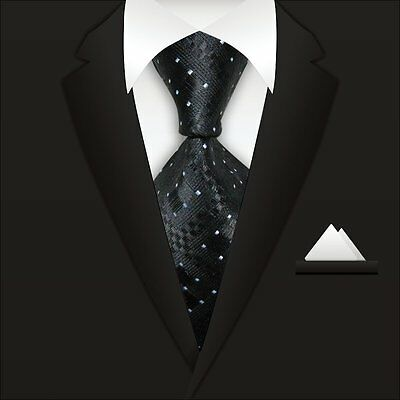 Men's Black White Plaid Business Formal WOVEN Silk Ties  Party Tie Necktie A070