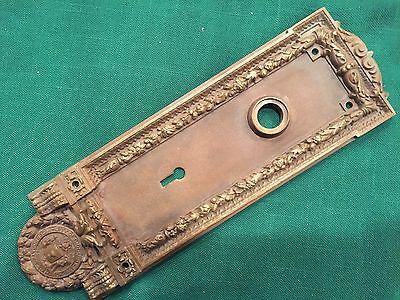 Antique Cast Brass Or Bronze Emblematic Door Knob Plate - City Of Chicago