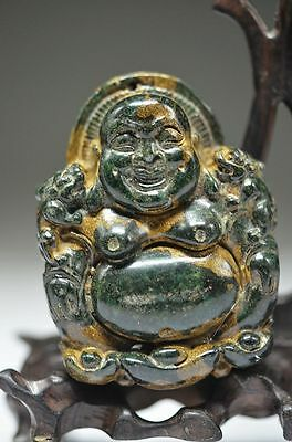 Excellent Chinese old jade hand carved Smiling Buddha pendant yy7
