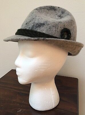 German felted hat- Original Faustmann- size 56- gray with green rope Alpine