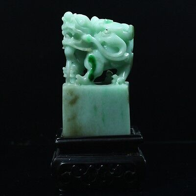Chinese Exquisite hand-carved Natural Dushan jade Dragon statue Seal