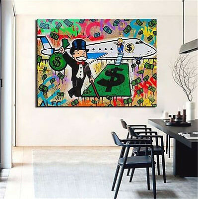 Alec Monopoly Bansky Oil Painting on Canvas Graffiti art Decor Airplane 24X36in