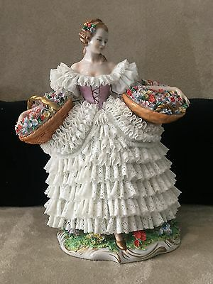 Vintage Large Sitzendorf Dresden Porcelain Lace Figurine 2 Flower Basket Germany