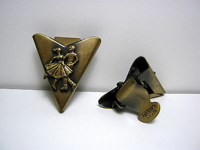 "Vintage Western Collar Tips Bronze Tone ""square Dancers"" U.s. Patent"