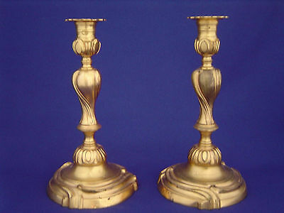 NICE PAIR OF MATCHING ANTIQUE FRENCH 19thC GILT BRONZE CANDLESTICKS c.1850