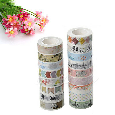1/5/10PCS 1.5cm×10M DIY Paper Sticky Adhesive Sticker Decorative Washi Tape Cute