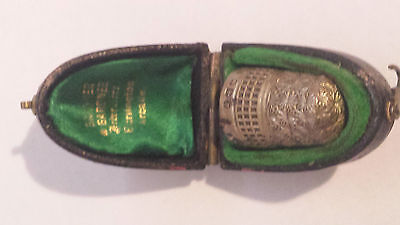 Thimble, antique silver in case