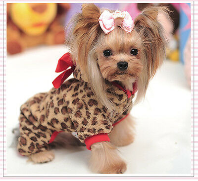 Clothing For Dog Pet Puppy Dog Clothes Winter Warm Leopard Cotton Dog Pajamas L
