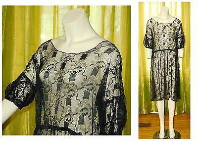 Antique Vintage 1920's SHEER SILK Embroidered NET LACE Flapper Dress