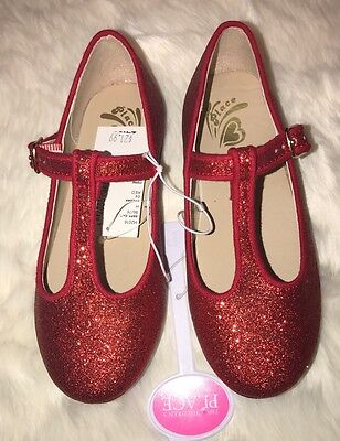 Children's Place Red Glitter Dress Shoes Flats Girl Size 10 NEW