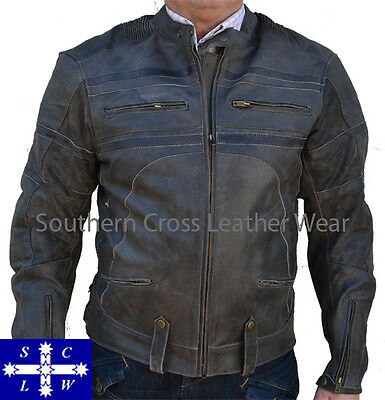 Men's Leather Motorcycle Jacket RETRO (Vintage) with Vents and Armourgard
