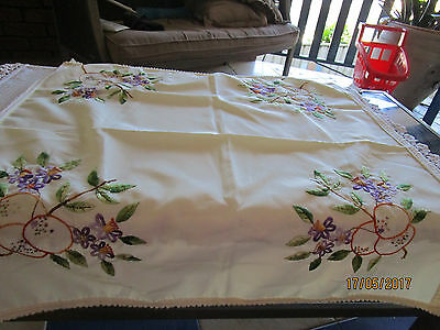 Small Crean Embroidered Tablecloth - Lovely Embroidery In Each Corner