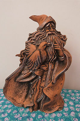 Ceramic Wizard with Raven Large Hand Painted Statue 26 cm high VGC